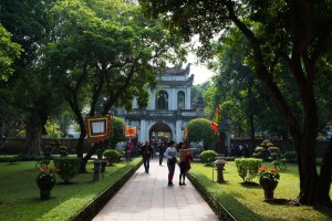 Main entrance gate to the Temple of Literature in Hanoi, Vietnam.