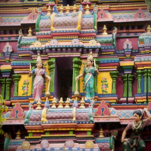 Exterior detail of Mariamman Hindu Temple in Ho Chi Minh City.