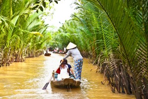 A famous tourist destination is  Ben Tre village in Mekong delta