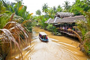 One of many Boat cruises along the Mekong Delta, this one departing from Ben Tre village.