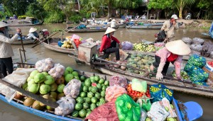Farmers sell their produce in floating markets in the Mekong Delta.